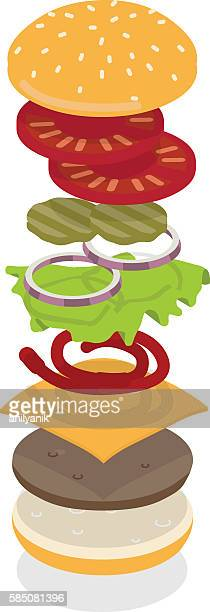 cheeseburger exploded - sweet bun stock illustrations, clip art, cartoons, & icons