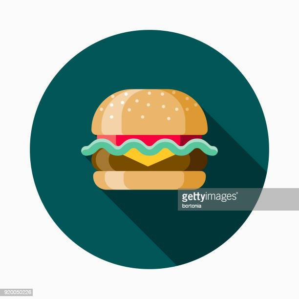cheeseburger flat design street food icon - ground beef stock illustrations