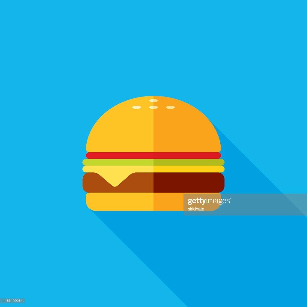 Cheeseburger Flat Long Shadow Icon