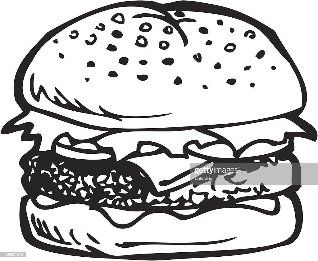 Cheeseburger Line Art : stock illustration