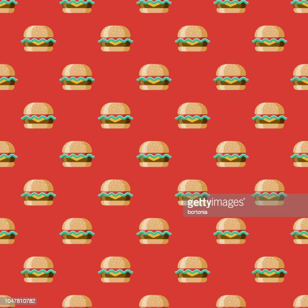 Cheeseburger USA Seamless Pattern
