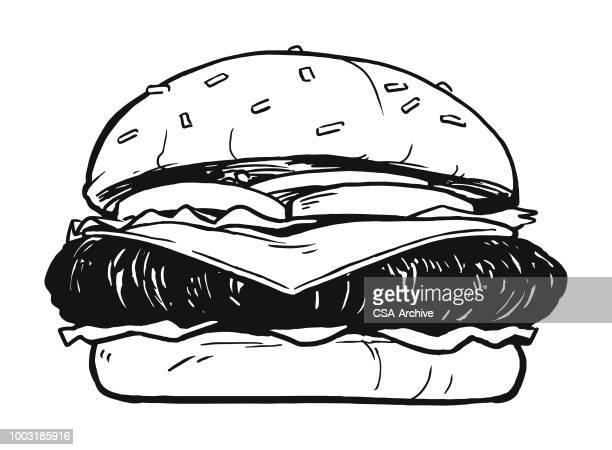 cheeseburger - hamburger stock illustrations, clip art, cartoons, & icons