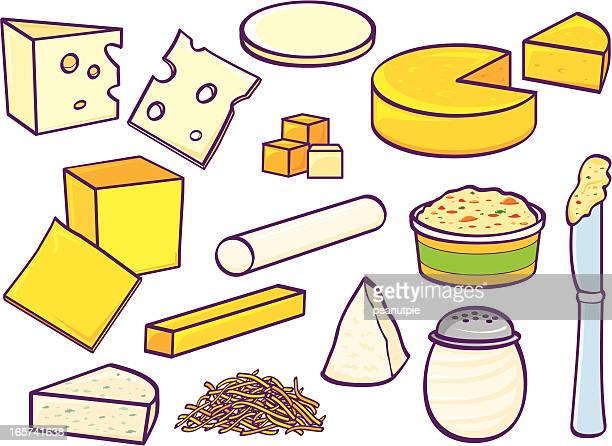cheeses - spreading stock illustrations
