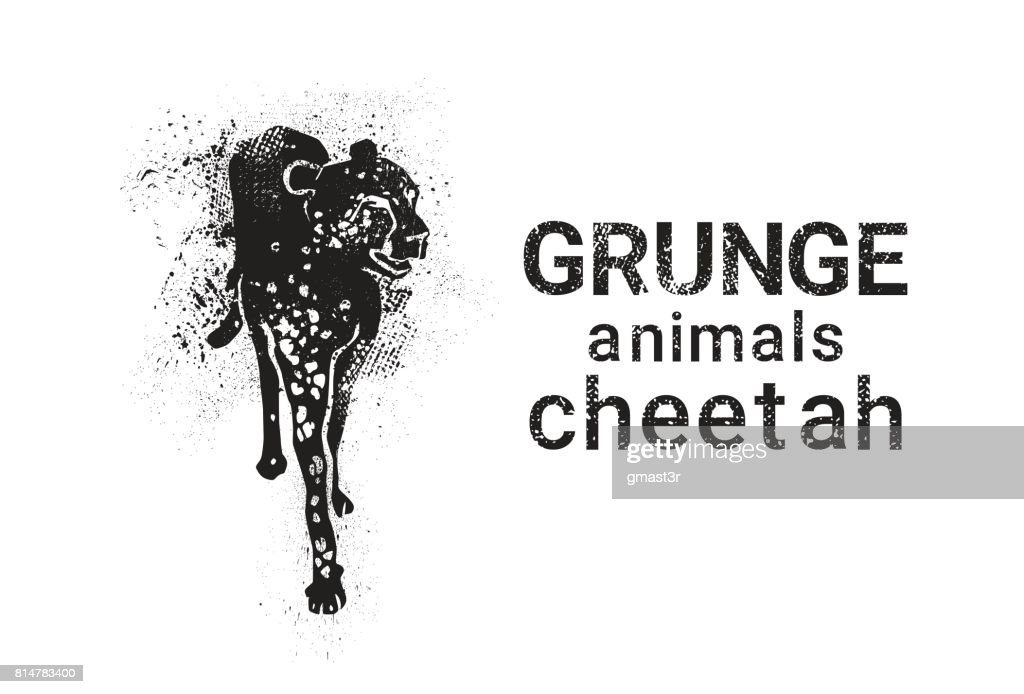Cheetah In Grunge Style Silhouette Hand Drawn Animal