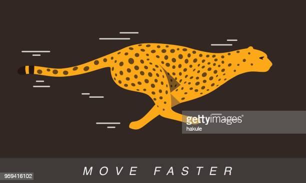 Cheetah running faster, side view, flat design, vector