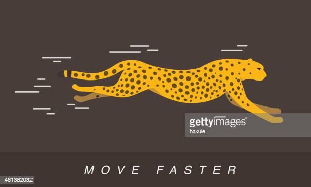 Cheetah running, side flat 3D icon design