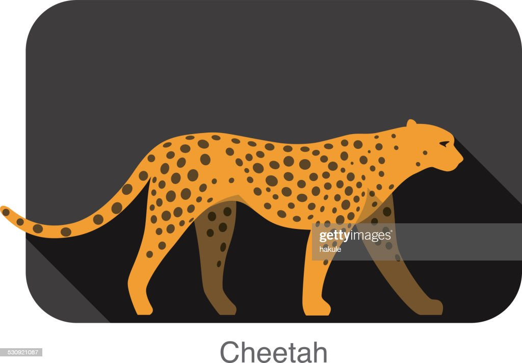 Cheetah walking side flat 3D icon design