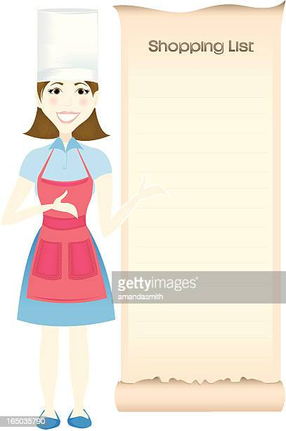 chef and her shopping list - shopping list stock illustrations, clip art, cartoons, & icons