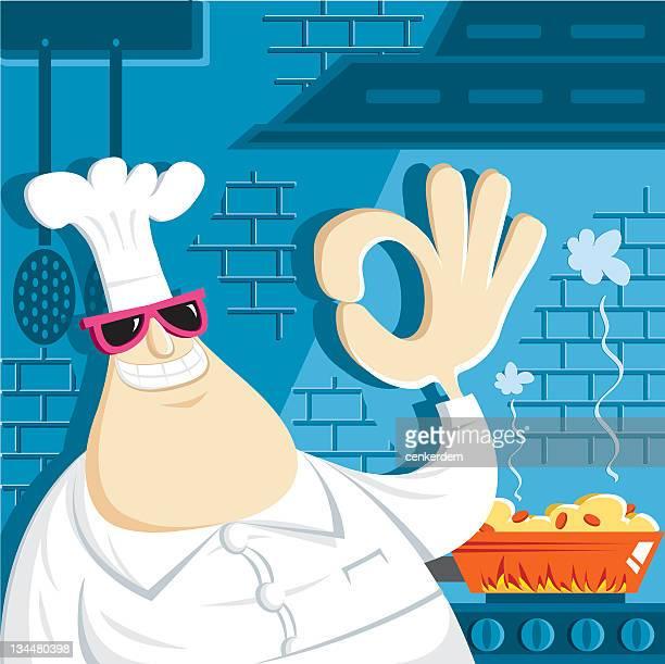 ilustrações, clipart, desenhos animados e ícones de chef de cozinha e perfeito - frito