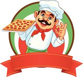 Chef And Square Pizza Banner