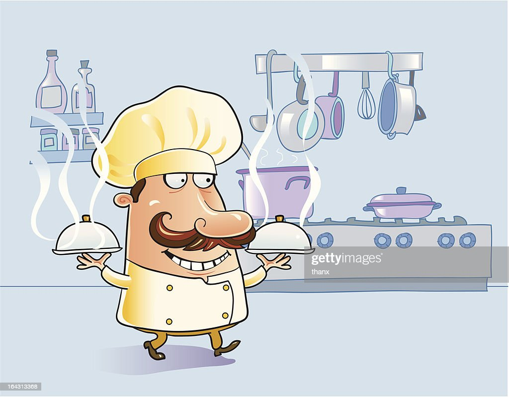 Chef cartoon in the kitchen with steaming hot dishes, pans
