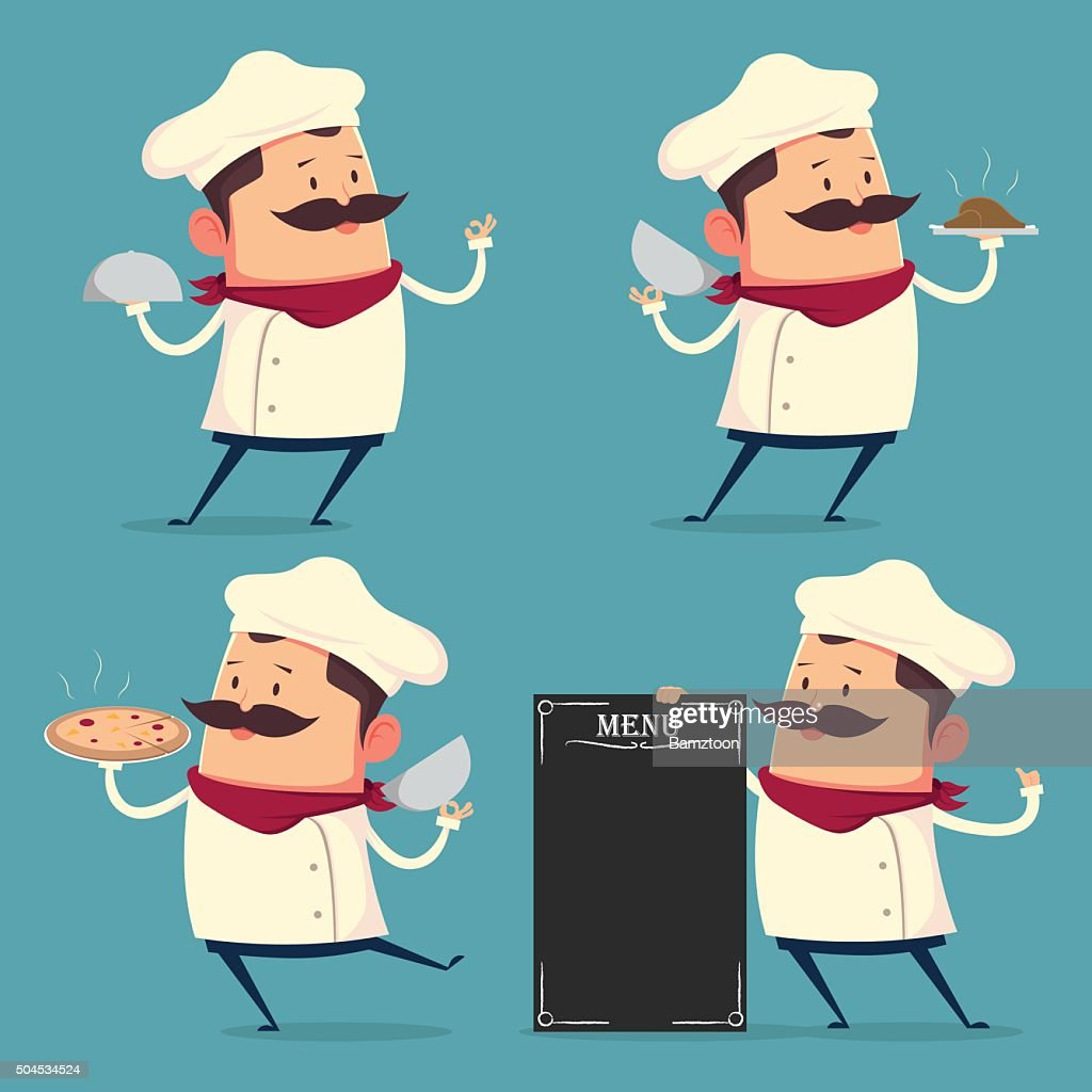 Chef cartoon set in retro style