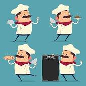 Chef cartoon set in retro style