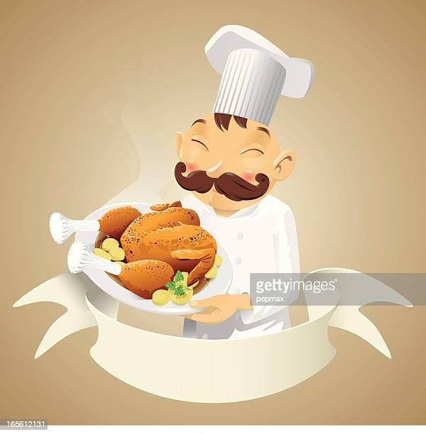 ilustraciones, imágenes clip art, dibujos animados e iconos de stock de chef pollo: banner - pollo asado