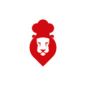 Chef cook lion head icon. Lion head with cook cap icon idea for the business card, branding and corporate identity.
