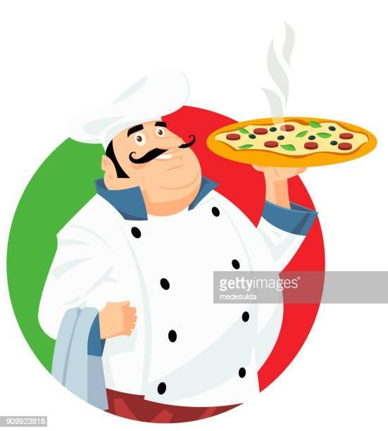 ilustrações de stock, clip art, desenhos animados e ícones de chef cook vector pizza - pizzaria