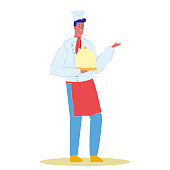 Chef Cook with Plate Cartoon Vector Illustration