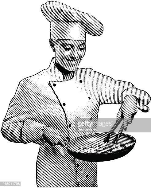 シェフの料理のヘルシーなお食事 - コック帽点のイラスト素材/クリップアート素材/マンガ素材/アイコン素材