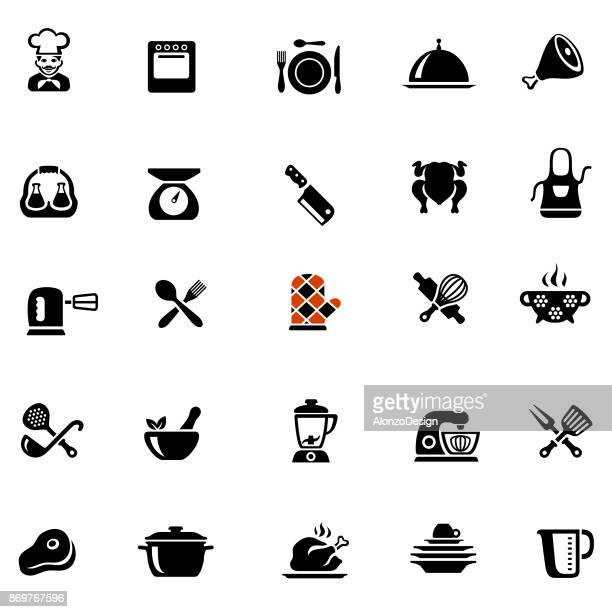 chef cooking icons - kitchen scale stock illustrations, clip art, cartoons, & icons