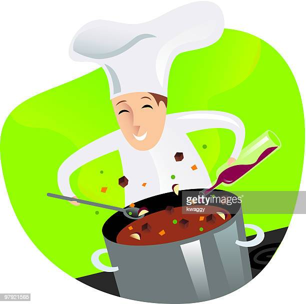 chef cooking - beef stew stock illustrations, clip art, cartoons, & icons