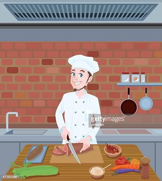 ilustraciones, imágenes clip art, dibujos animados e iconos de stock de chef corte los alimentos - chef