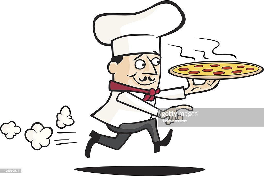 Chef Delivering a Pizza