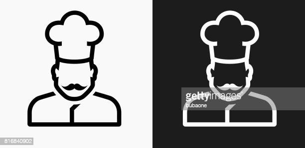 Chef Face Icon on Black and White Vector Backgrounds