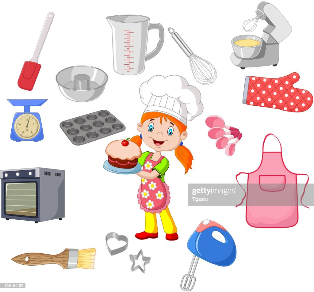 Chef girl and cookware