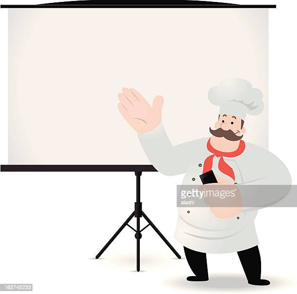 Chef giving a presentation with projection screen