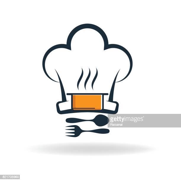 ilustrações, clipart, desenhos animados e ícones de ícone de chapéu e pote de chef - chapéu de cozinheiro
