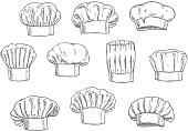 Chef hat, cook cap and toque sketches