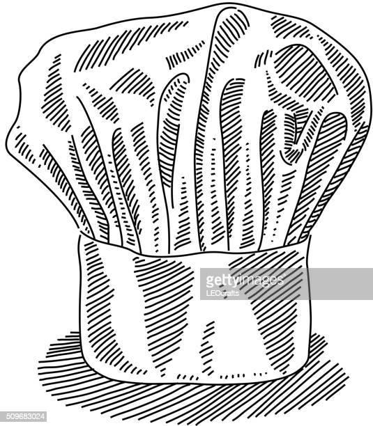 ilustraciones, imágenes clip art, dibujos animados e iconos de stock de chef sombrero dibujo - gorro de chef
