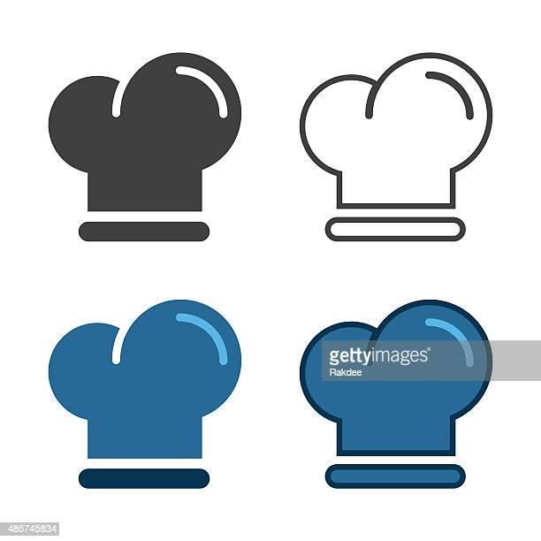 chef hat icon - headdress stock illustrations
