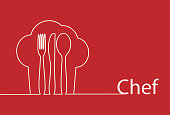 Chef hat knife fork and spoon line art design vector.