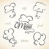 Chef hat labels set for restaurant menu design