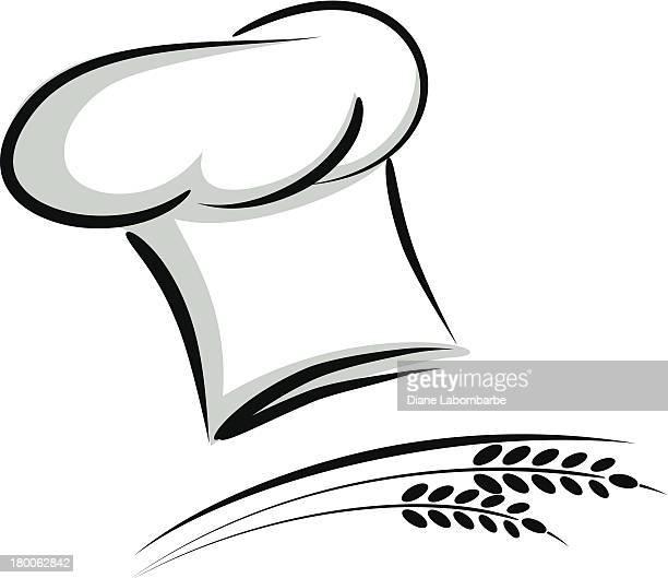 ilustraciones, imágenes clip art, dibujos animados e iconos de stock de chef sombrero de paja - gorro de chef