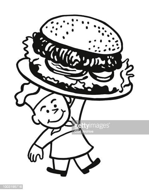 chef holding a giant hamburger - hamburger stock illustrations, clip art, cartoons, & icons