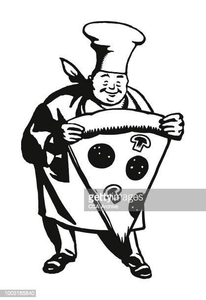 ilustrações de stock, clip art, desenhos animados e ícones de chef holding a large slice of pizza - pizzaria