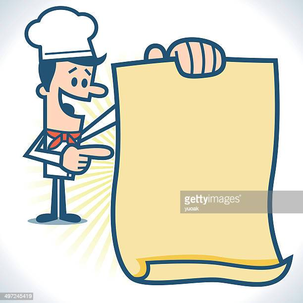 chef holding menu - bulletin board flyer stock illustrations