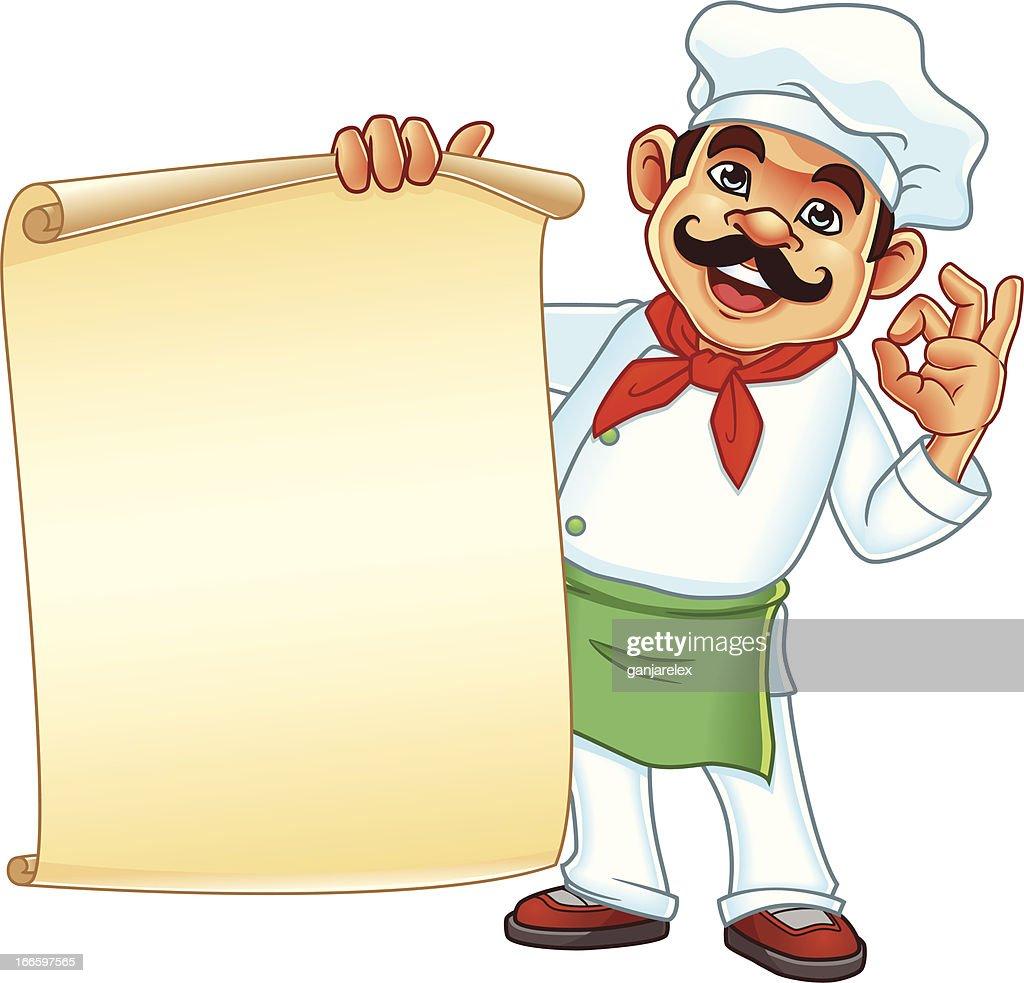 Chef Holding Parchment Menu