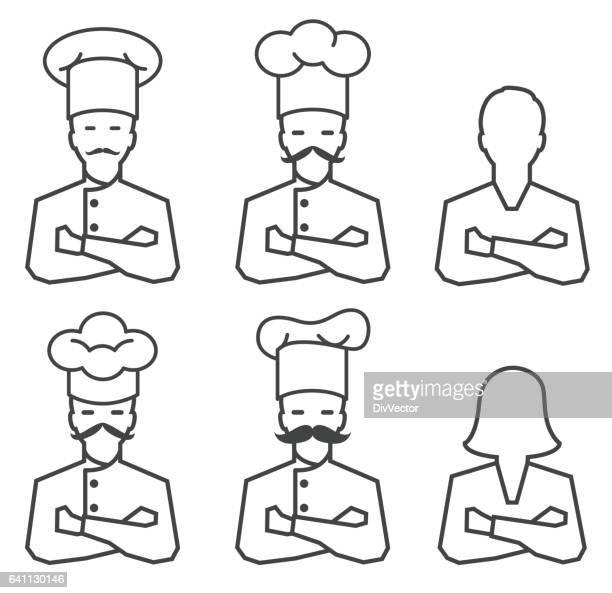 ilustraciones, imágenes clip art, dibujos animados e iconos de stock de icono de chef - gorro de chef