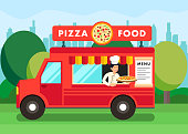 Chef in Pizza Food Truck Cartoon Illustration
