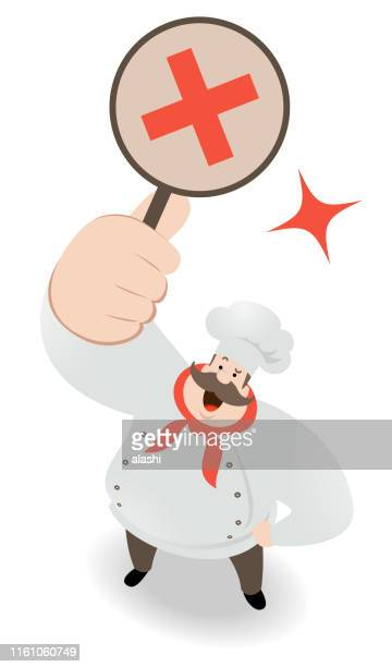 Chef looking upward and holding wrong answer sign (forbidden, letter X, cross shape)