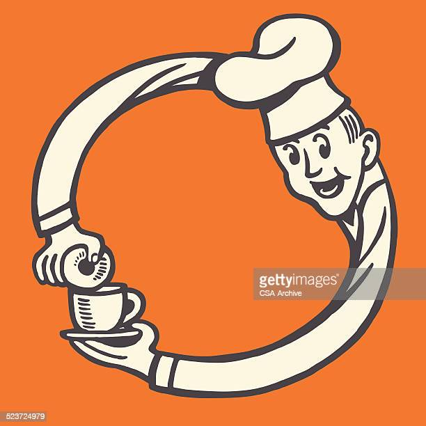 chef making a circle with his arms - donut stock illustrations, clip art, cartoons, & icons