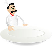Chef Menu Holding A Plate