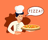 Chef Offering Pizza to Client Vector Illustration