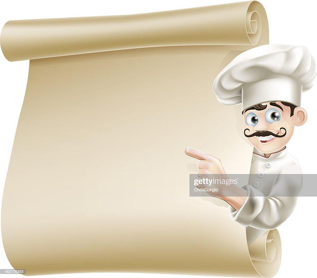 Chef pointing at menu