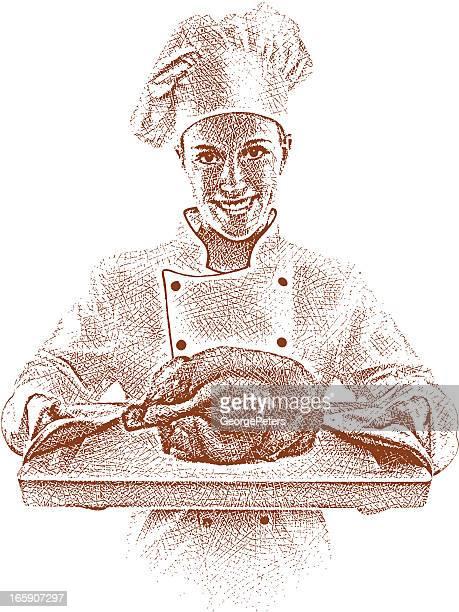 ilustraciones, imágenes clip art, dibujos animados e iconos de stock de el chef ofrece pollo asado - pollo asado