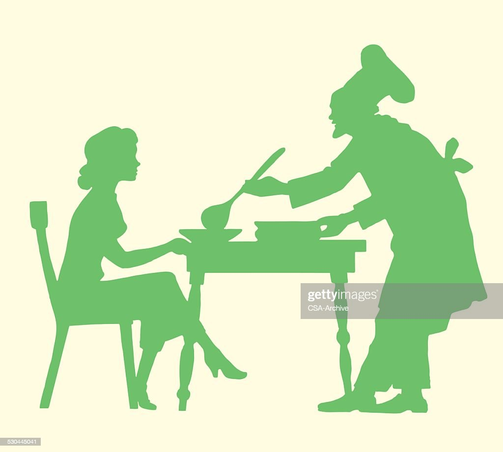 Chef Serving Soup to a Woman
