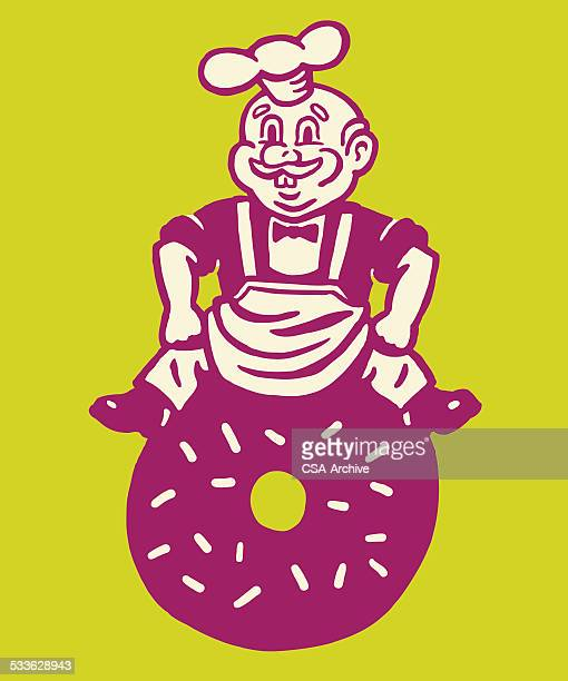 chef sitting on a donut - donut stock illustrations, clip art, cartoons, & icons